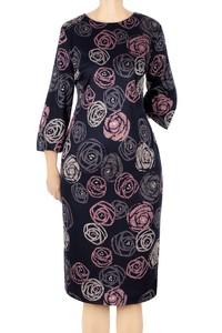 Damska sukienka 4849 granatowa w róże