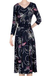 Długa sukienka Alika granatowa w kwiaty