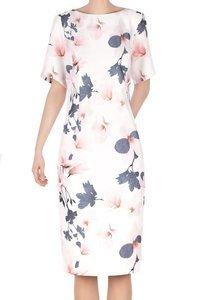 Sukienka damska ecru w delikatne kwiatki