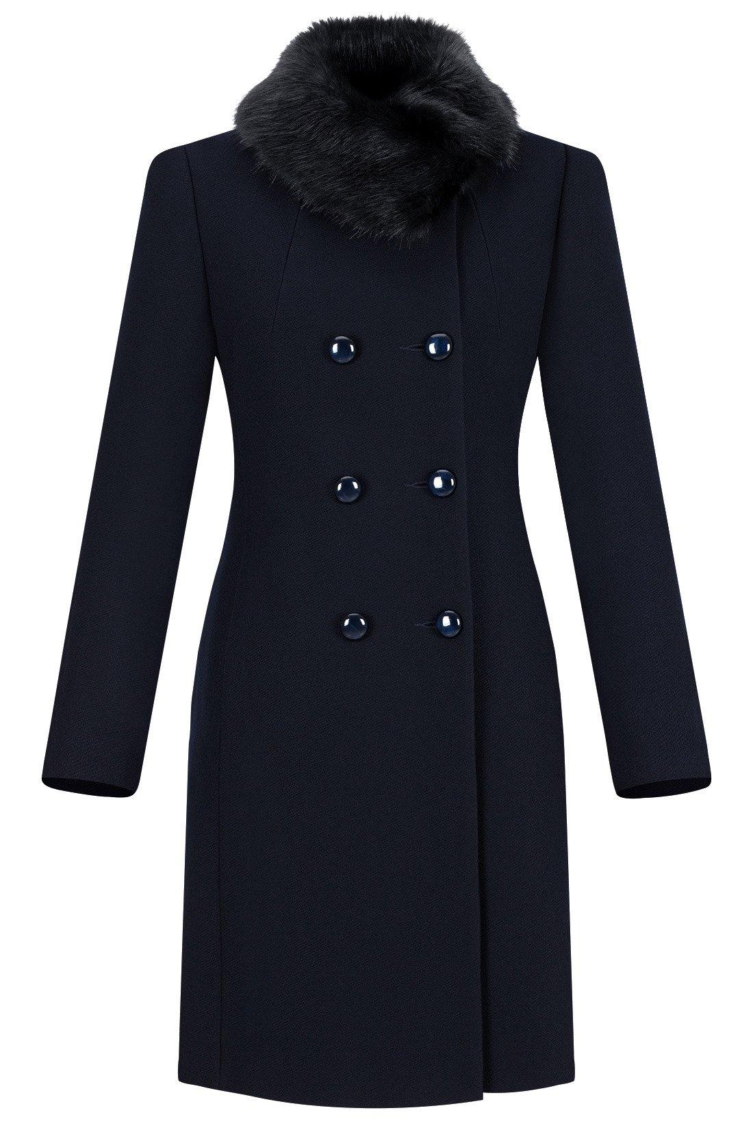 d89222f756868 Dwurzędowy płaszcz damski zimowy Sonia granatowy z wełną Kliknij, aby  powiększyć ...