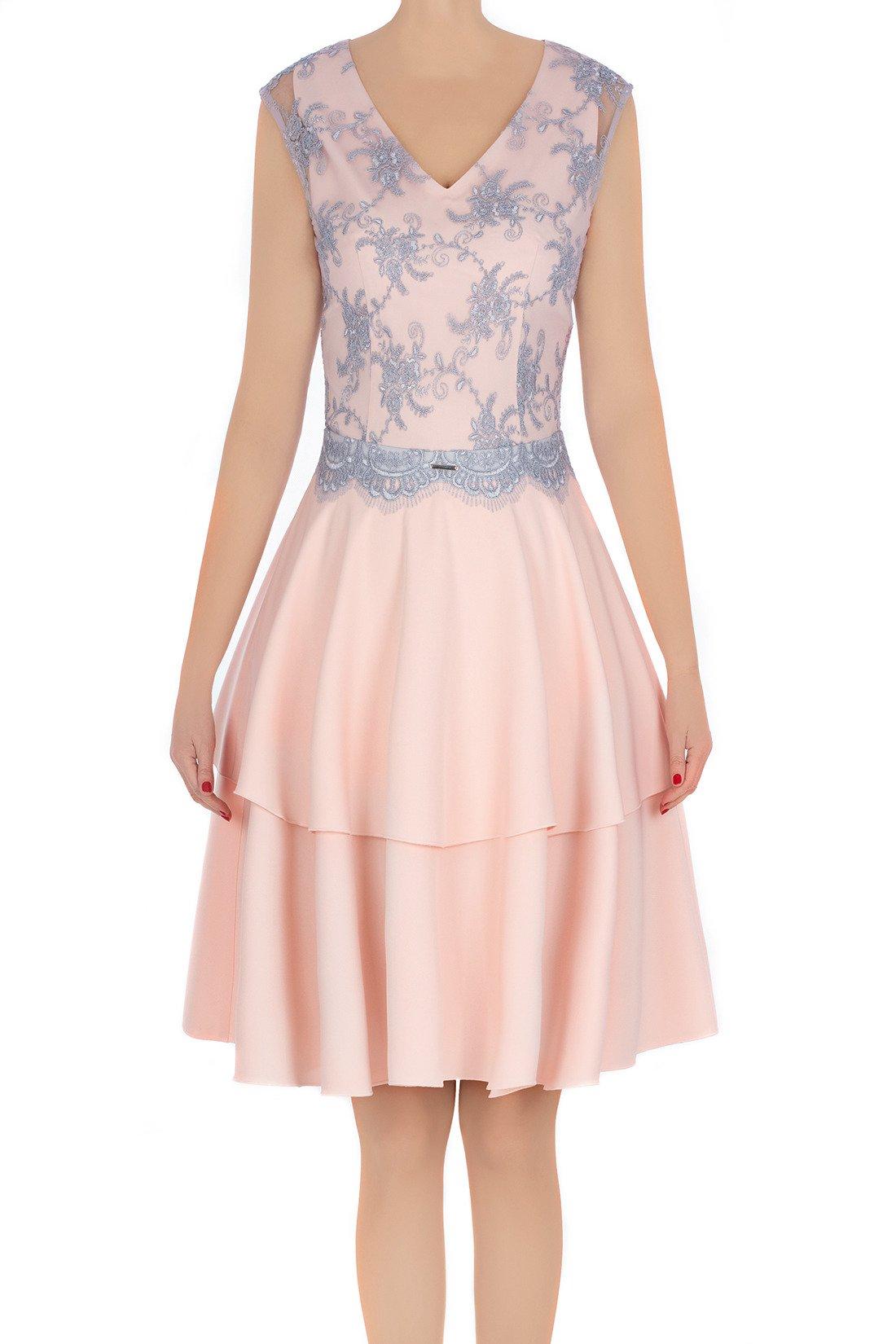 1dc367a20f ... Elegancka sukienka damska Feero pudrowy róż z szarą koronką 3227  Kliknij
