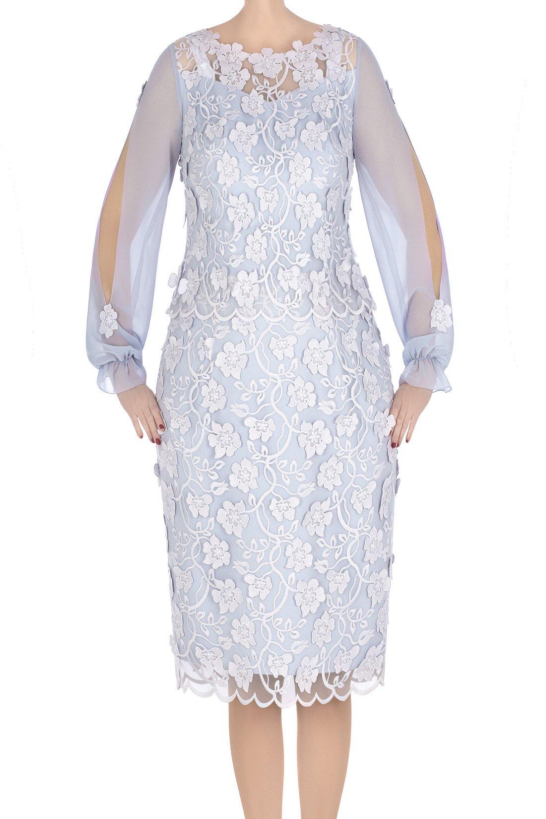0ce55d3ba0 Elegancka sukienka damska Flora szara z ozdobnymi rękawami 3306 Kliknij