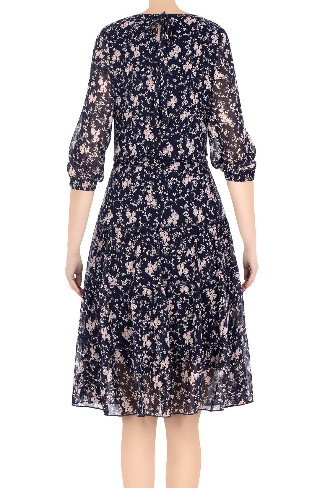 1bfa6a230d ... Modna sukienka damska Malika granatowa w różowe kwiaty 3207 Kliknij