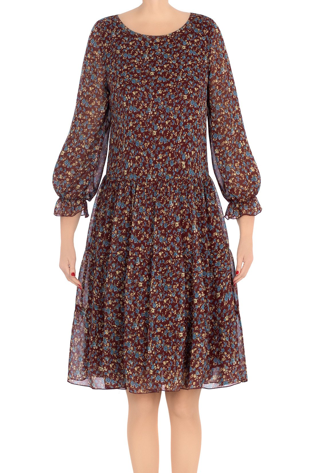 6f94b87950 Modna sukienka damska Pola bordowa w beżowe kwiatki 3214 Kliknij