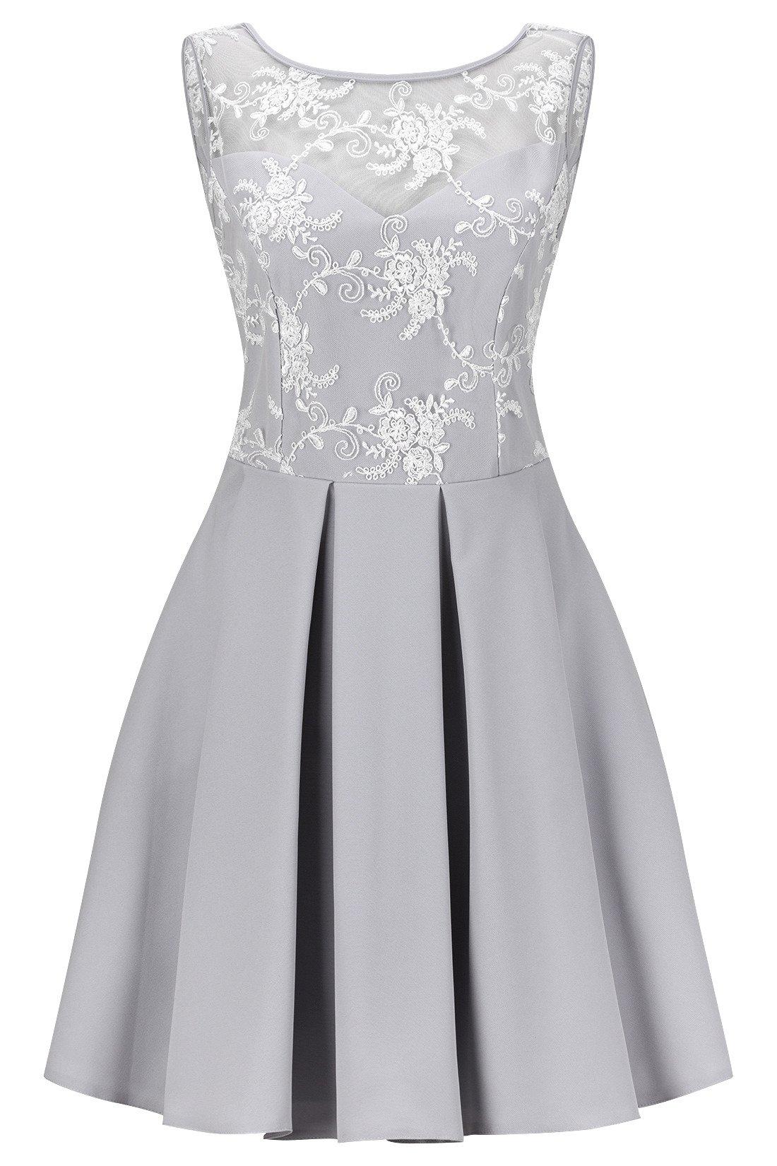 105f2dad46 Sukienka Koton III młodzieżowa rozkloszowana szara z białą koronką ...