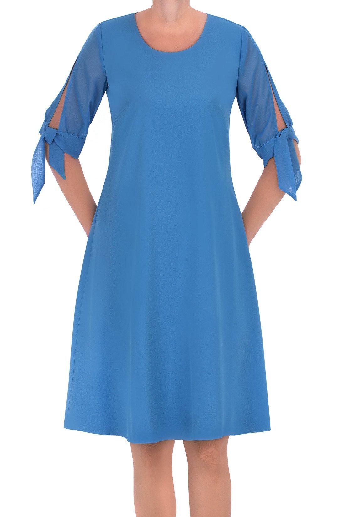 77aec08915 Zwiewna sukienka Żan-Mar trapezowa błękit królewski Kliknij