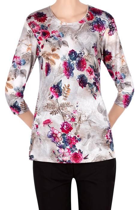 Bluzka Aga szara w pastelowe kwiaty