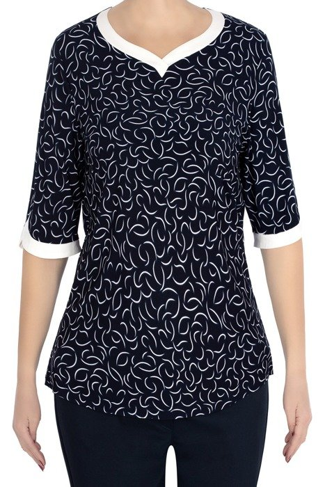 Bluzka Marguerite granat w delikatny wzór