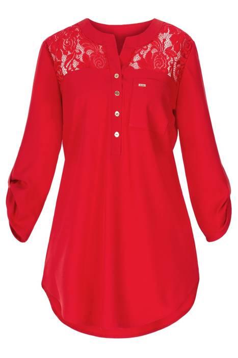 Bluzka damska 4250 czerwona z koronką