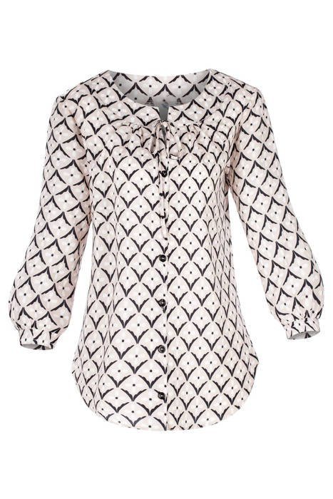 Bluzka damska beżowo-czarna we wzory