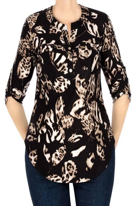 Bluzka damska czarna w beżowe wzory