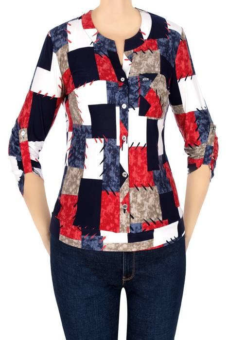 Bluzka damska w kolorowe kwadraty