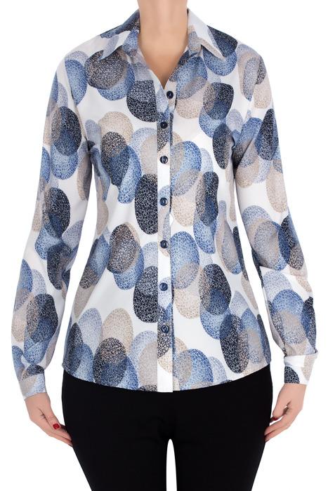 Bluzka koszulowa 2994 ecru w geometryczne wzory