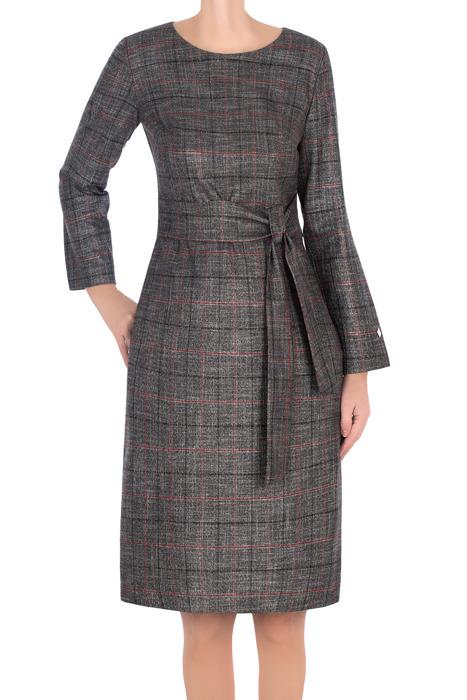 Sukienka Dagon 2735 szara w kratkę z paskiem
