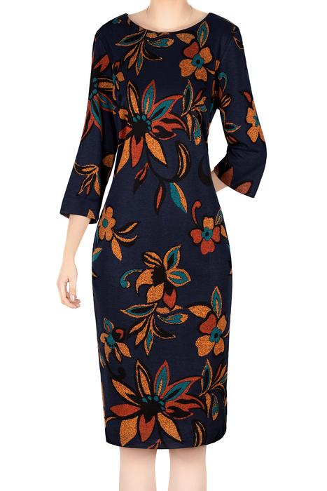 Damska sukienka 4778 granatowa w pomarańczowe kwiaty