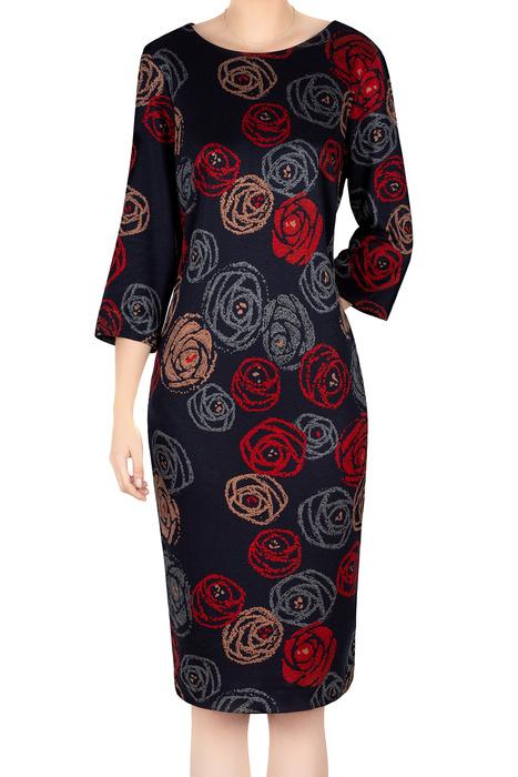 Damska sukienka 4779 granatowa w róże