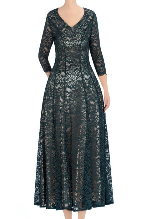 Długa, koronkowa sukienka damska Aura butelkowa zieleń 3390
