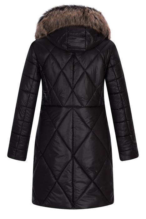 Długa kurtka zimowa AnMar czarna  z kapturem i futerkiem