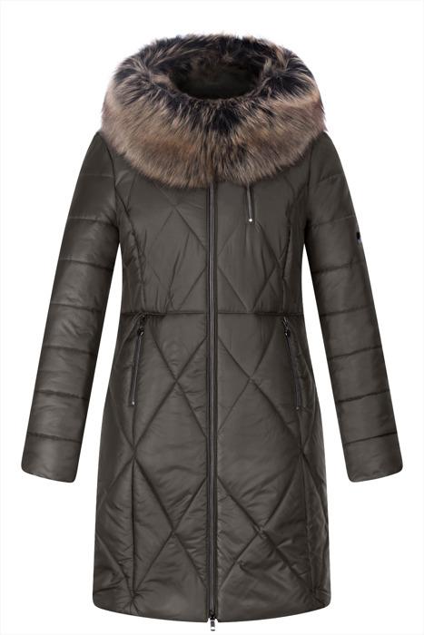 Długa kurtka zimowa AnMar oliwkowa I z kapturem i futerkiem