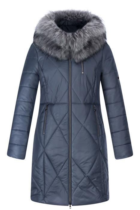Długa kurtka zimowa jeansowa z kapturem i futerkiem 3547