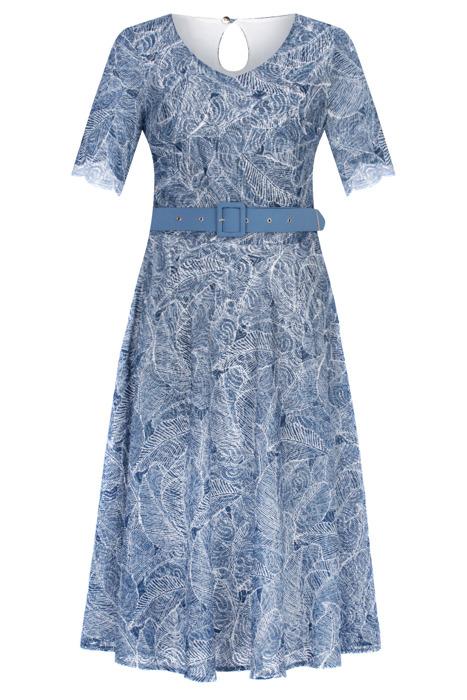Długa sukienka Maria Magdalena Aldona niebieska a'la koronka