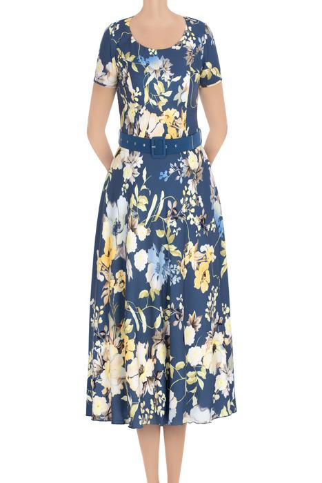 Długa sukienka damska Alika jasny granat w żółte kwiatki 3430