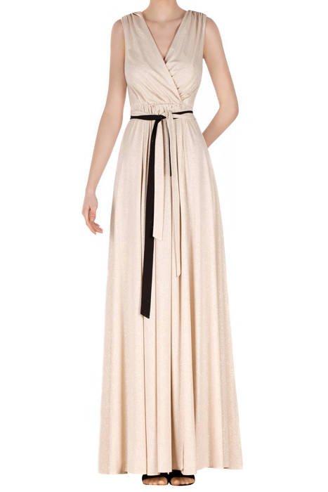 Długa sukienka ecru z brokatem