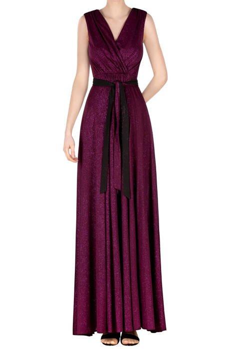 Długa sukienka jagodowa z brokatem