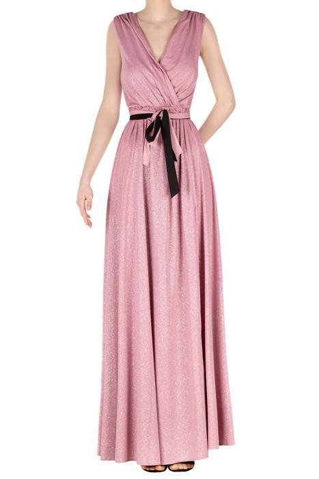 Długa sukienka pudrowy róż z brokatem