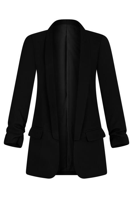 Długi czarny żakiet z drapowanymi rękawami