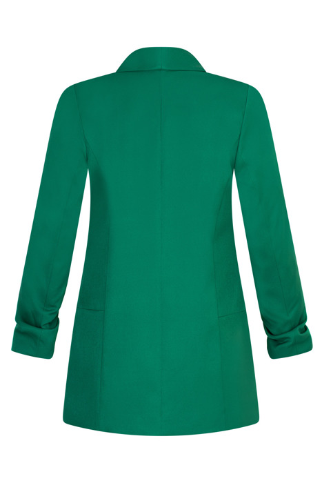 Długi zielony żakiet z drapowanymi rękawami