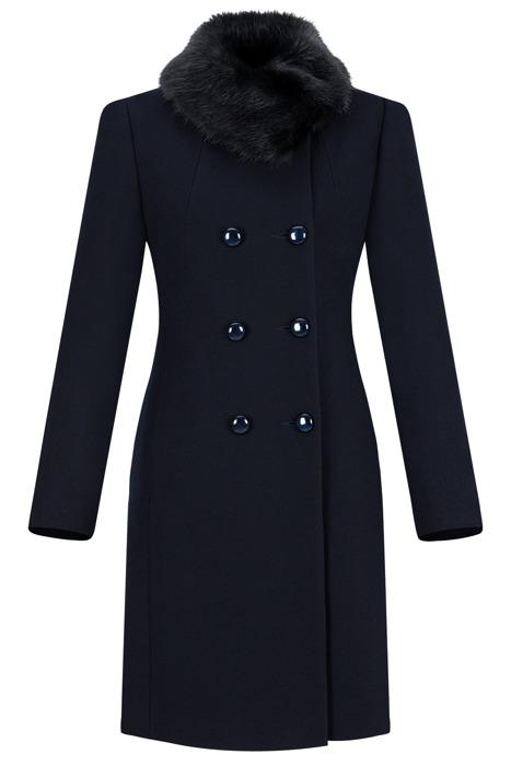Dwurzędowy płaszcz damski zimowy Sonia granatowy z wełną