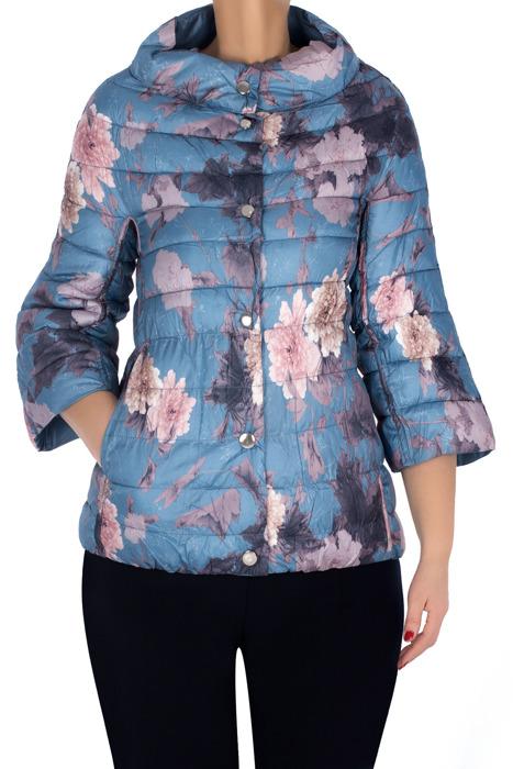 Dwustronna pikowana kurtka niebieska w kwiaty 3151