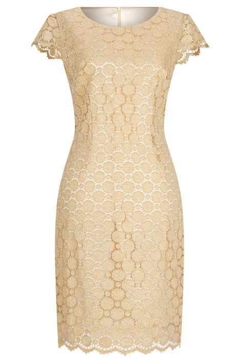 Elegancka sukienka Dorota złota z gipiurą 3294