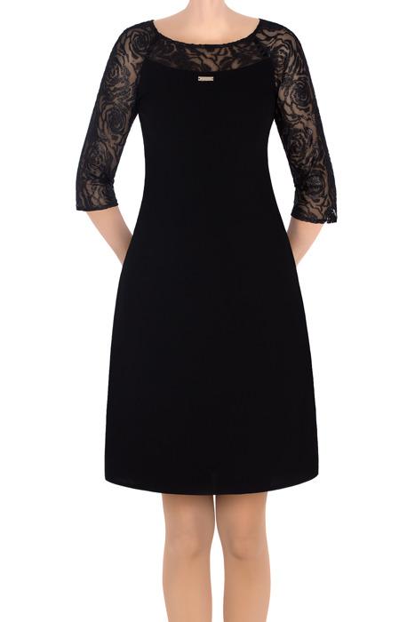 Elegancka sukienka czarna z koronką