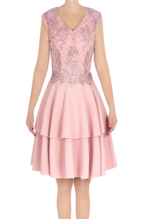Elegancka sukienka damska Feero pudrowy róż z koronką 3226