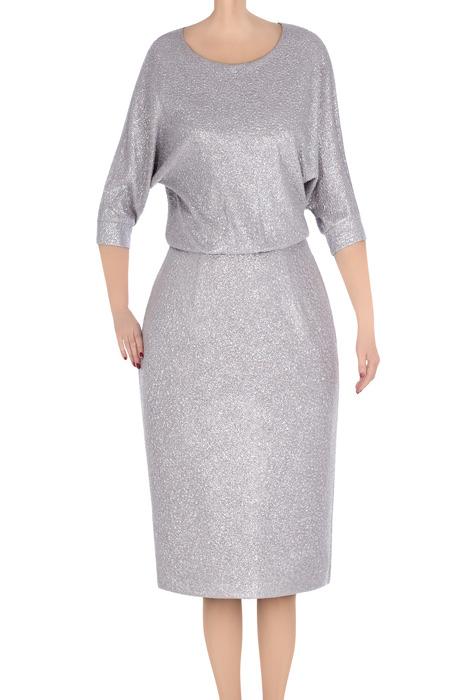 Elegancka sukienka damska Raffaella szara srebrna 3313