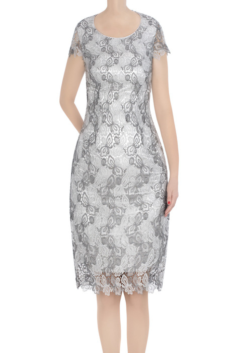 Elegancka sukienka damska szara z gipiurą 3359