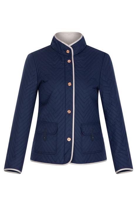 Granatowa kurtka pikowana z kontrastową lamówką 3150