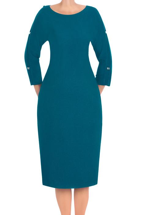 Klasyczna sukienka Lotos Zuza morski niebieski