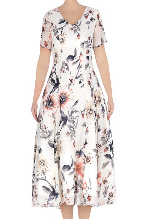 Klasyczna sukienka damska Daiana biała w granatowe kwiaty 3309