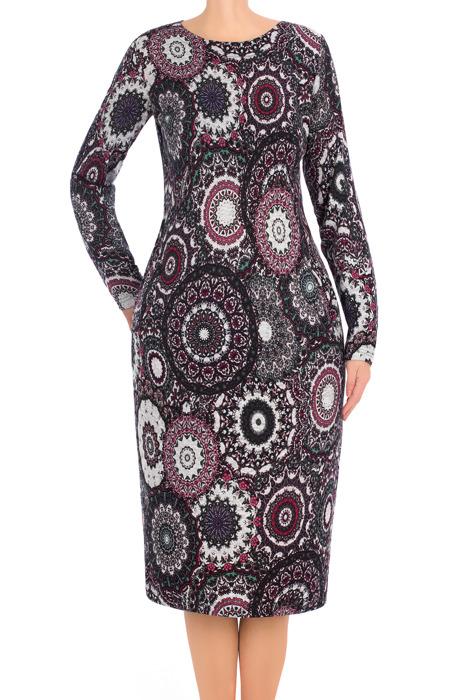 Klasyczna sukienka damska J.S.A. Maria 2878 azteckie wzory