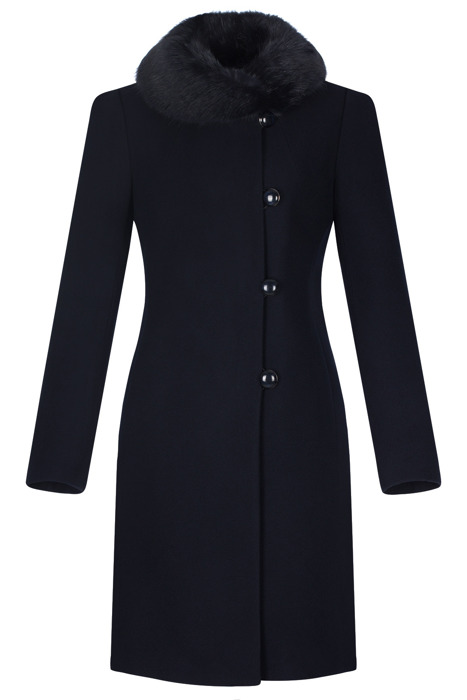 Klasyczny płaszcz damski zimowy Maja granatowy z wełną