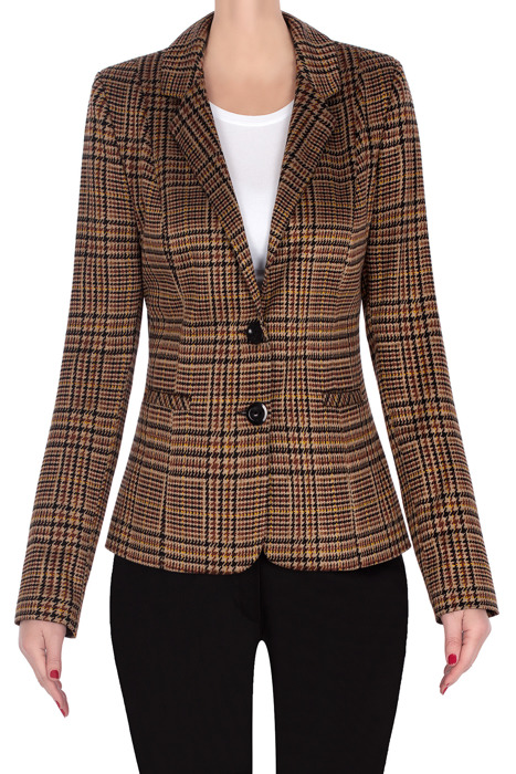 Klasyczny żakiet damski brązowy w kratkę 3248