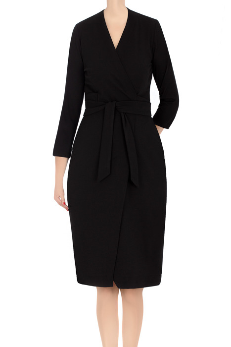 Koktajlowa sukienka damska Modesta czarna z wiązaniem 3363