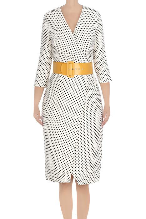 Koktajlowa sukienka damska ecru w kropki z paskiem 3417
