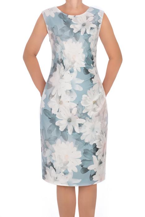 Komplet Dagon morska w kwiaty - sukienka 2792 i płaszcz 2782