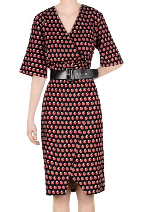 Modna sukienka czarna w czerwone kropy