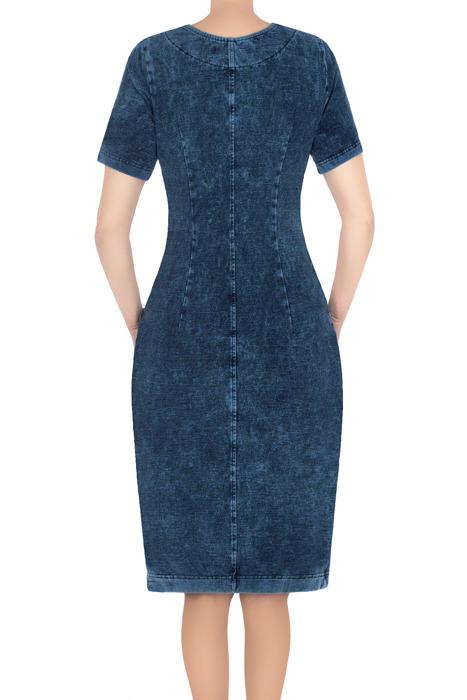 Modna sukienka dzianinowa jeansowa 3195