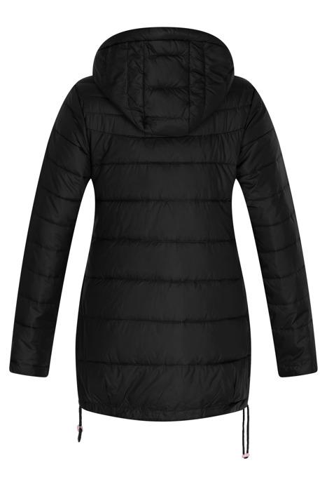 Pikowana czarna kurtka z kapturem 3156